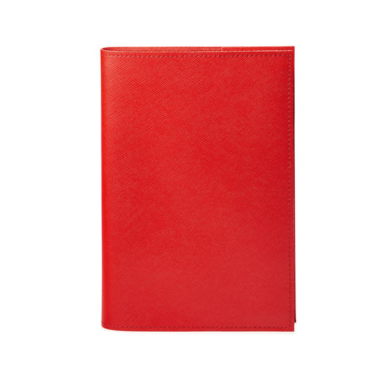A5 Refillable Leather Journal in Scarlet Saffiano from Aspinal of London