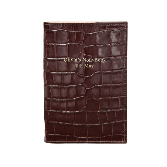 A5 Refillable Leather Journal in Deep Shine Amazon Brown Croc from Aspinal of London
