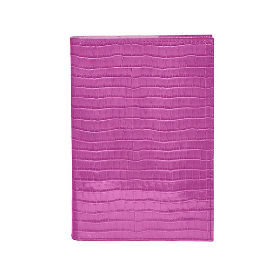 A5 Refillable Leather Journal in Deep Shine Hibiscus Small Croc from Aspinal of London
