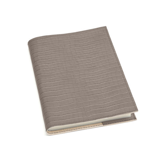 A5 Refillable Leather Journal in Deep Shine Warm Grey Small Croc from Aspinal of London