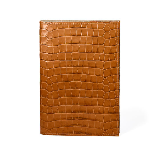 A5 Refillable Leather Journal in Deep Shine Vintage Tan Small Croc from Aspinal of London
