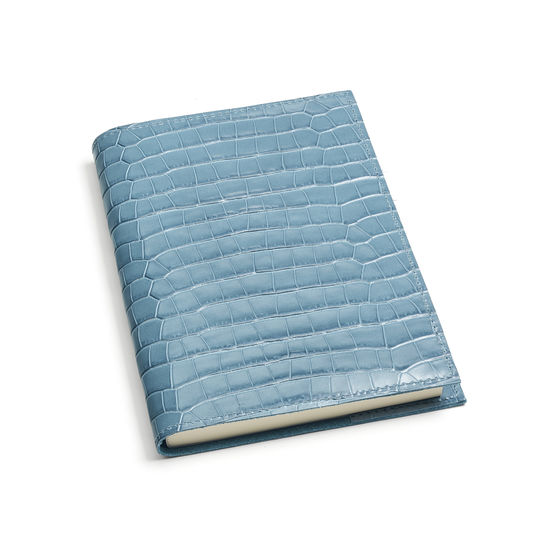A5 Refillable Leather Journal in Deep Shine Cornflower Small Croc from Aspinal of London