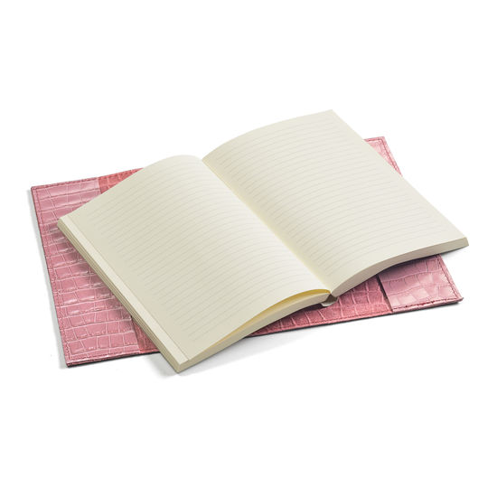 A5 Refillable Leather Journal in Deep Shine Tea Rose Small Croc from Aspinal of London