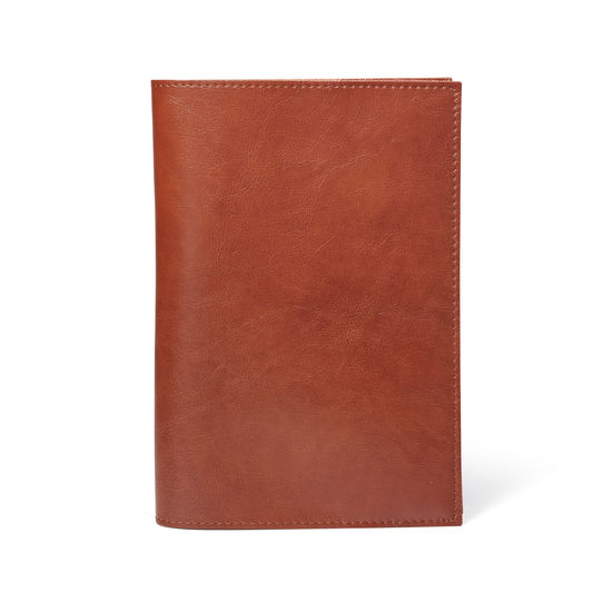 Rustic A5 Refillable Leather Journal in Smooth Antique Brown from Aspinal of London