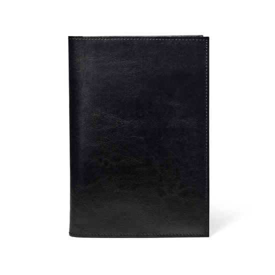 Rustic A5 Refillable Leather Journal in Smooth Black from Aspinal of London