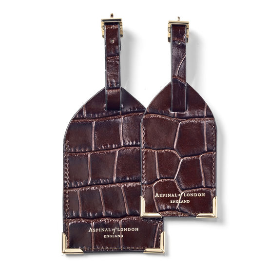 Set of 2 Luggage Tags in Deep Shine Amazon Brown Croc from Aspinal of London