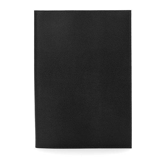 A4 Refillable Leather Journal in Black Saffiano from Aspinal of London