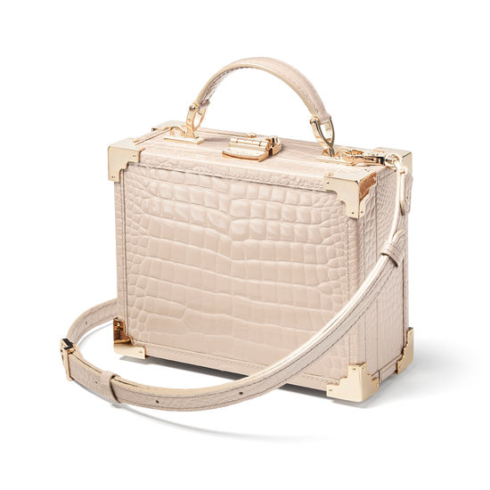 The Trunk in Soft Taupe Patent Croc from Aspinal of London