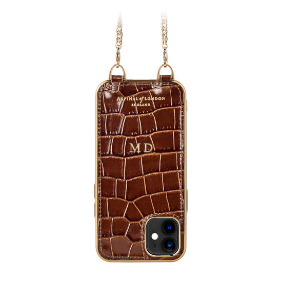 iPhone 12 Mini Chain Case in Deep Shine Chestnut Small Croc from Aspinal of London