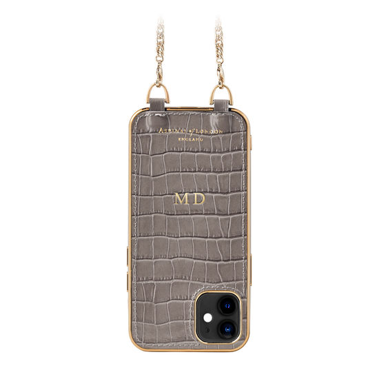 iPhone 12 Mini Chain Case in Deep Shine Warm Grey Small Croc from Aspinal of London