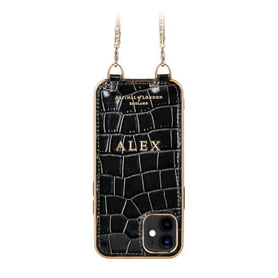iPhone 12 Mini Chain Case in Deep Shine Black Small Croc from Aspinal of London