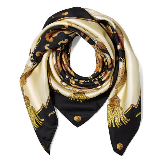 Aspinal Signature Shield Silk Scarf in Black from Aspinal of London
