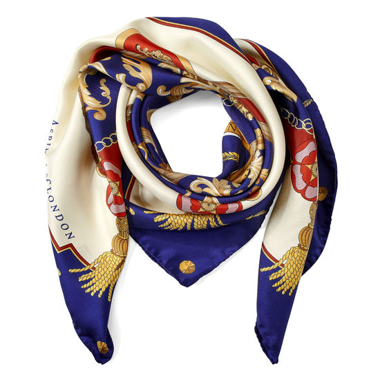 Aspinal Signature Shield Silk Scarf in Blue from Aspinal of London