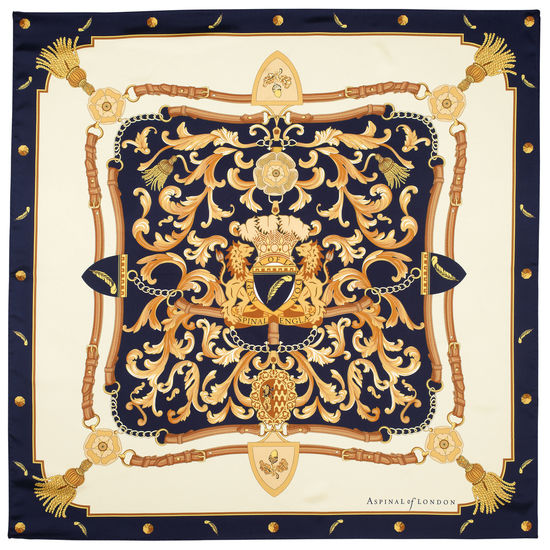 Aspinal Signature Shield Silk Scarf in Navy from Aspinal of London
