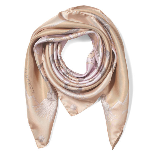 Aspinal Signature Shield Silk Scarf in Nude from Aspinal of London