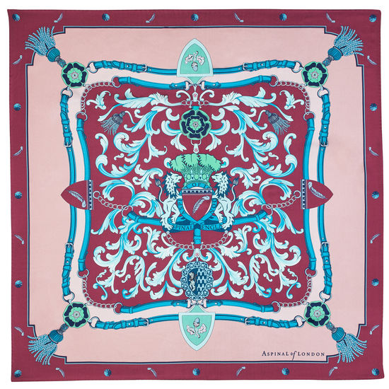 Aspinal Signature Shield Silk Scarf in Bordeaux from Aspinal of London