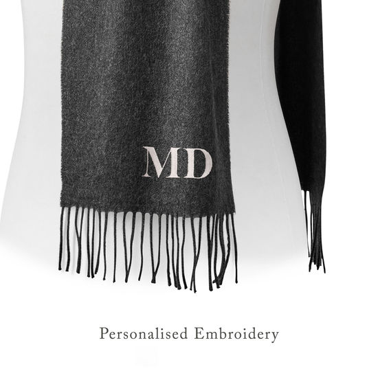 Pure Cashmere Scarf in Dark Grey from Aspinal of London