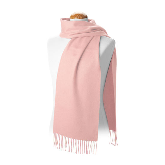 Pure Cashmere Scarf in Soft Pink from Aspinal of London