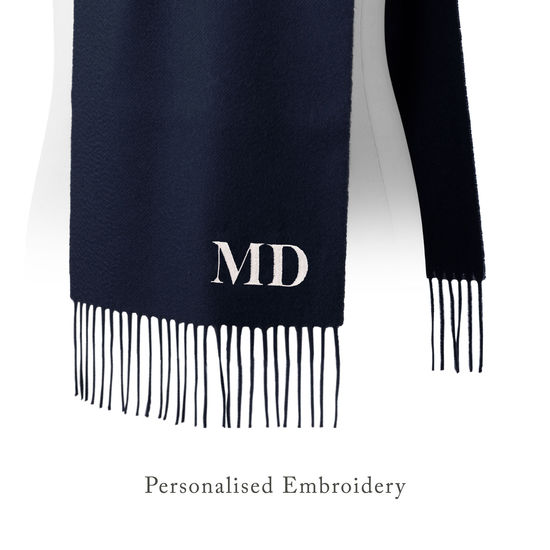 Pure Cashmere Scarf in Navy Blue from Aspinal of London
