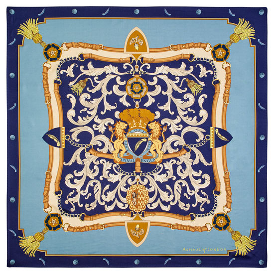 Aspinal Signature Shield Silk Scarf in Cornflower, Navy & Gold Silk Twill from Aspinal of London