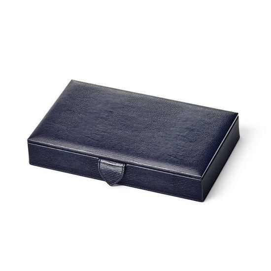 Paris Jewellery Box in Midnight Blue Silk Lizard from Aspinal of London