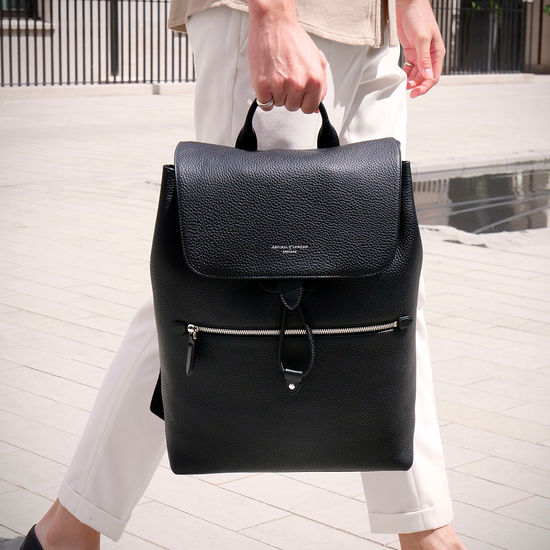 Reporter Backpack in Navy Pebble from Aspinal of London