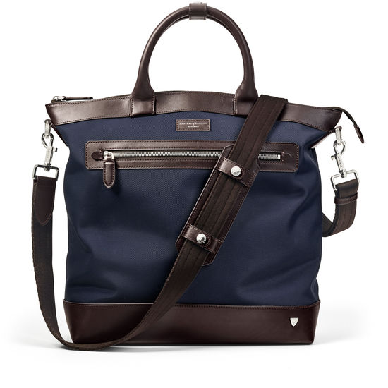 Anderson Tote in Navy Nylon & Smooth Chocolate Leather Trim from Aspinal of London