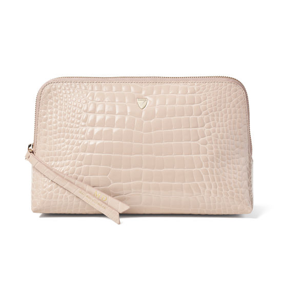 Large Essential Cosmetic Case in Soft Taupe Patent Croc from Aspinal of London