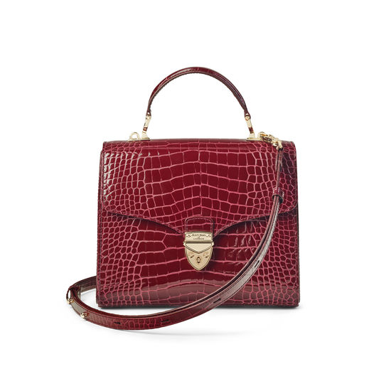 Mayfair Bag in Bordeaux Patent Croc from Aspinal of London