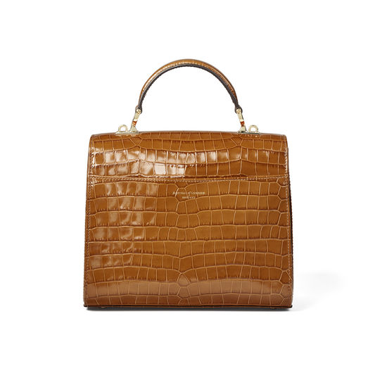 Mayfair Bag in Deep Shine Vintage Tan Small Croc from Aspinal of London