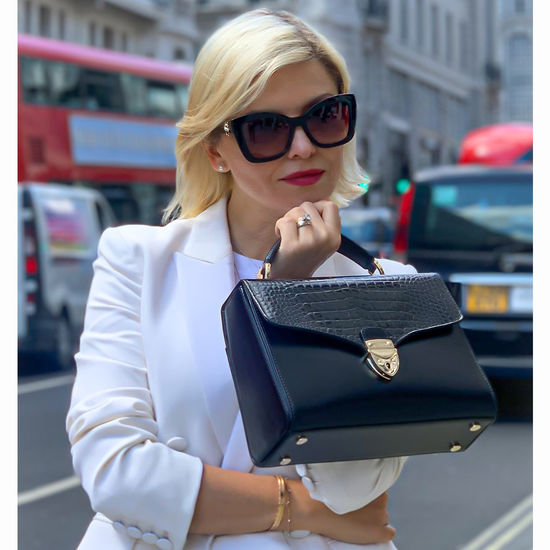 Mayfair Bag in Deep Shine Midnight Blue Small Croc from Aspinal of London