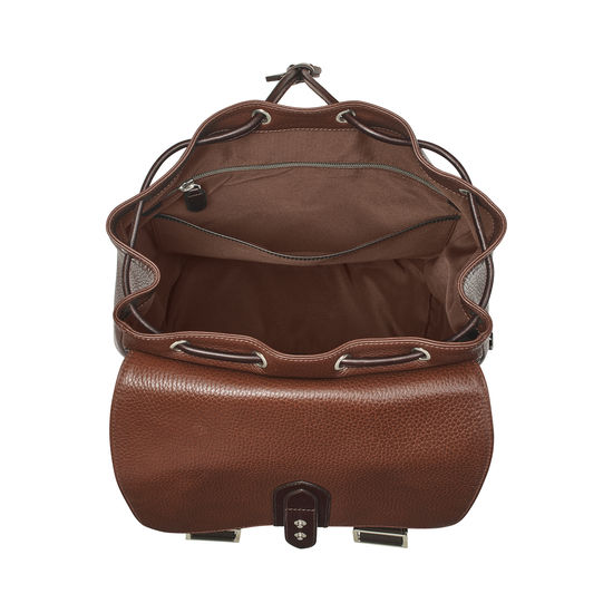 Reporter Backpack in Tobacco Pebble from Aspinal of London