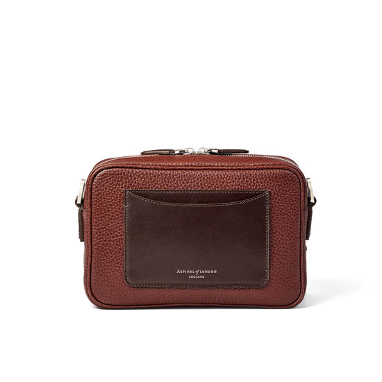Reporter East West Messenger Bag in Tobacco Pebble from Aspinal of London