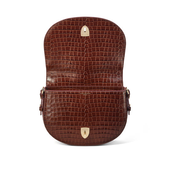 Stella Satchel in Deep Shine Chestnut Small Croc from Aspinal of London