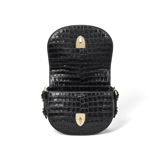 Small Stella Satchel in Deep Shine Black Small Croc from Aspinal of London