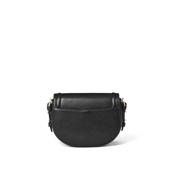 Small Stella Satchel in Black Pebble from Aspinal of London