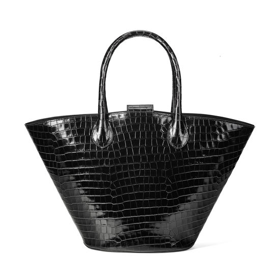 Matilda Tote in Deep Shine Black Small Croc from Aspinal of London