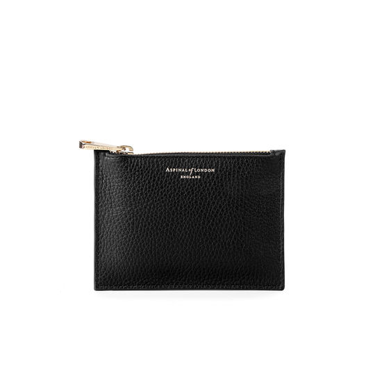 Small Essential Flat Pouch in Black Pebble from Aspinal of London