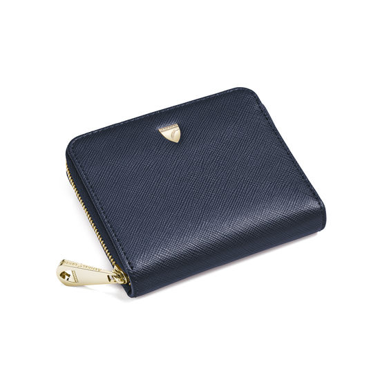 Slim Mini Continental Purse in Navy Saffiano from Aspinal of London