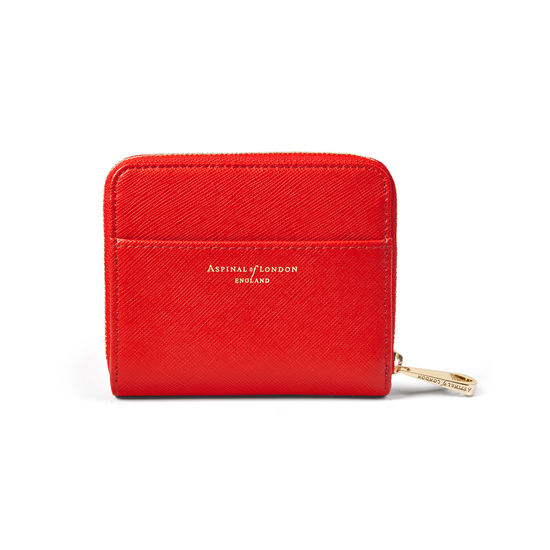 Slim Mini Continental Purse in Scarlet Saffiano from Aspinal of London