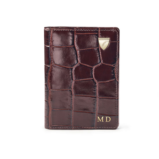 Double Fold Credit Card Holder in Deep Shine Amazon Brown Croc from Aspinal of London