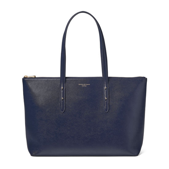 Zipped Regent Tote in Navy Saffiano from Aspinal of London