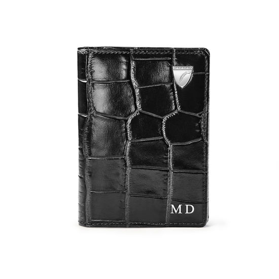 Double Fold Credit Card Holder in Deep Shine Black Croc from Aspinal of London