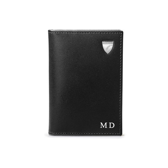 Double Fold Credit Card Holder in Smooth Black & Red Land Snake from Aspinal of London