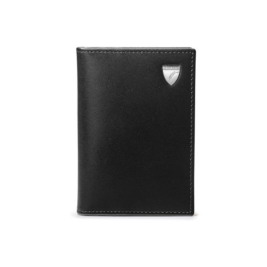 Double Fold Credit Card Holder in Smooth Black from Aspinal of London