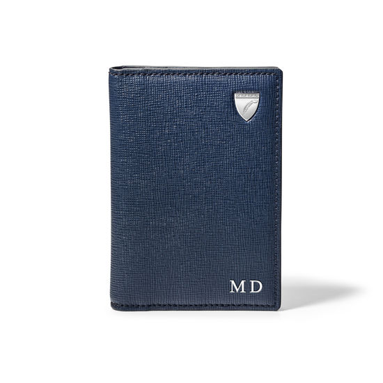 Double Fold Credit Card Holder in Navy Saffiano from Aspinal of London
