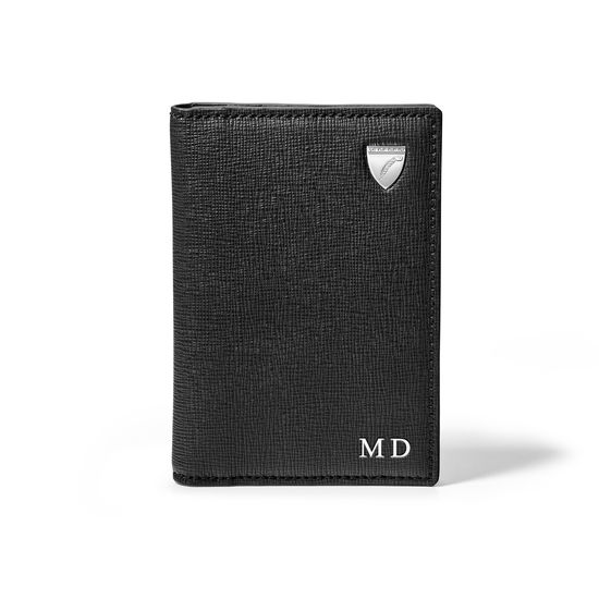 Double Fold Credit Card Holder in Black Saffiano from Aspinal of London