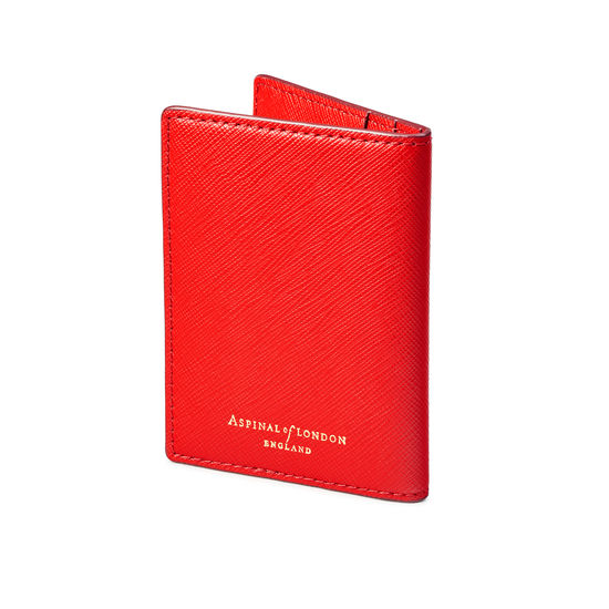 Double Fold Credit Card Holder in Scarlet Saffiano from Aspinal of London