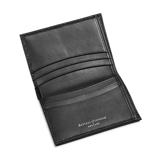 Credit Card Wallet with Notes Pocket in Black Saffiano & Black Suede from Aspinal of London