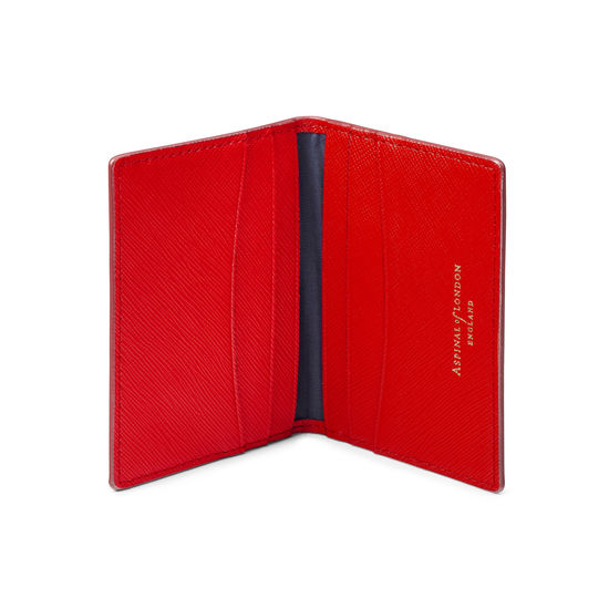 Double Fold Credit Card Case in Scarlet Saffiano from Aspinal of London